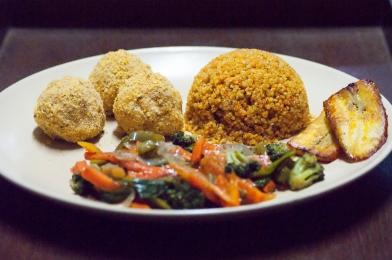 Shake and bake potato balls & quinoa meal